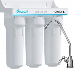 Ecosoft 3 Stage Under Sink Water Purifier Filtration System with Kitchen Faucet