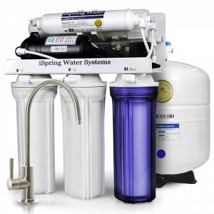 iSpring RCC7P Boosted Performance Under Sink 5-Stage Reverse Osmosis Drinking Water Filtration System